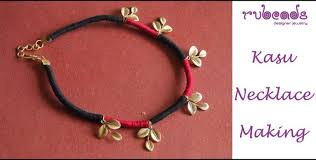 handmade necklace tutorial images How to make kasu mala in two colors necklace making tutorial jpg