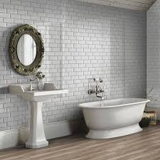 bevelled brick light grey gloss wall tiles retro metro tiles