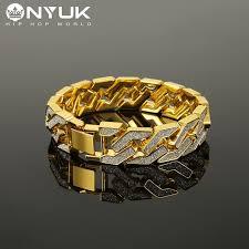 aliexpress buy nyuk new fashion american style gold nyuk men s bracelet style big thick gold 16mm