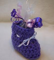 crochet pattern to make bootie cups as baby shower favors