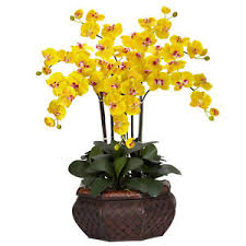 yellow orchid large 30 artificial silk yellow orchid flower arrangement w