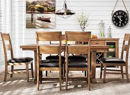 Raymour And Flanigan Dining Room Fenwick 7 Pc Dining Set Medium Brown Dark Brown Raymour