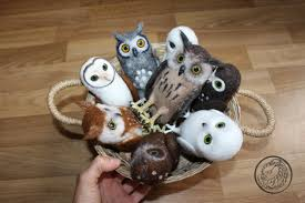 miniature owl figurines needle felted small owl forest