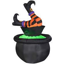 halloween witch pot gemmy 5 ft animated inflatable witch legs in cauldron 55731 the