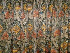 Lined Cotton Curtains Pair Vintage Liberty Lined Cotton Curtains William Morris Red
