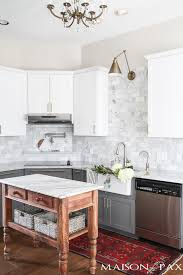 gray kitchen cabinets with white marble countertops gray and white and marble kitchen reveal maison de pax