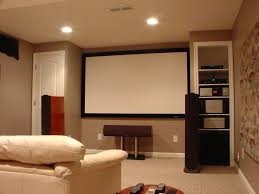 small minimalist home theater room design with low ceiling and