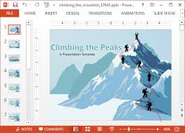 animated climbing the mountain powerpoint templates
