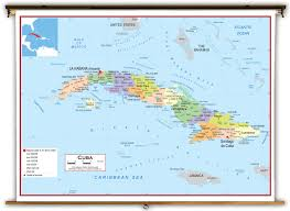 Cuba World Map by Cuba Political Educational Wall Map From Academia Maps