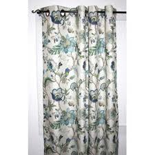 Lined Grommet Curtain Panels Ellis Curtain Brissac 63 Inch Long Jacobean Floral Print Lined