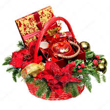 Christmas Basket Christmas Gift Basket On White Background U2014 Stock Photo Lertsnim