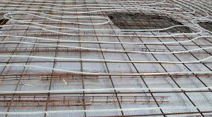 this shows slab preparation for radiant floor in basement