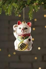 гавайский maneki neko lucky cat стекло орнамент с блестками