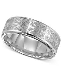Mens Tungsten Wedding Rings by Triton Men U0027s Tungsten Carbide Ring Comfort Fit Etched Cross