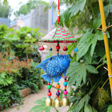 creative fish ornaments ethnic style national wooden wind chimes