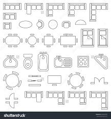 Furniture Floor Plans Standard Furniture Symbols Used In Architecture Plans Icons Set