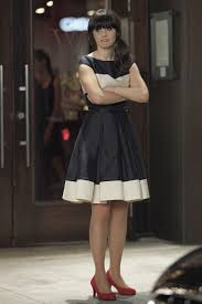 zooey deschanel new girl fashion wwzdw what would navy and cream flared color block dress from new girl zooey