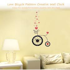 custom bicycle stickers decals bike ideas high quality love bicycle pattern creative removable wall clock with sticker decal for living room bedroom