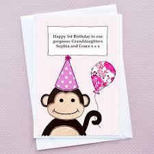 monkey u0027 personalised girls birthday card by jenny arnott cards