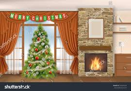 christmas interior fireplace fir tree winter stock vector
