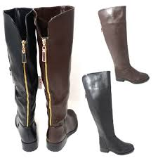 biker style boots ladies womens knee high gold back zip biker fashion boots shoes