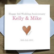 3rd wedding anniversary personalised handmade 3rd wedding anniversary card leather