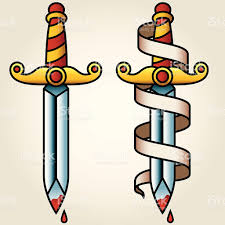 classic sailortattoo styled dagger and banner stock vector art