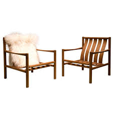 pair of handmade slatted oak lounge chairs by jørgen nilsson for