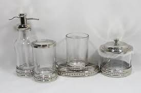 bella lux five piece clear glass and silver bathroom accessory set