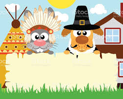 thanksgiving day background with rabbit indian and pilgrim