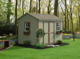 simple outdoor with wooden tough storage shed and french sliding