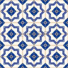 gorgeous seamless pattern from dark blue and white moroccan