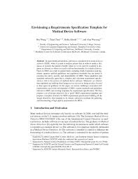 envisioning a requirements specification template for medical