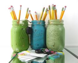 Office Desk Supplies Cute Office Decor Painted Mason Jars Office Desk