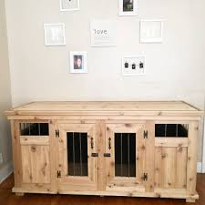 Dog Crate Furniture Bench Jroskam And I Built A Dog Kennel Solid Wood With Metal Bars And
