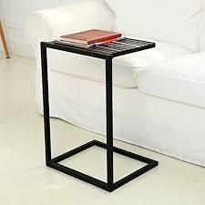 Sofa Table With Stools Amazon Com Mygift Slide Under Sofa Side Table Metal Slats Snacks
