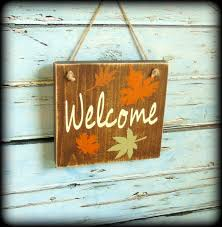 rustic fall welcome sign autumn decor wooden fall sign autumn