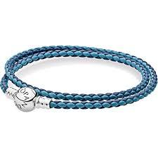 bracelet leather pandora images Pandora mixed blue woven double leather charm bracelet jpg