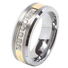 titanium tungsten rings images 100s jewelry mens tungsten ring cz inlay gold plated jpg