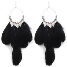 black feather earrings fashion black feather earrings for women ethnic style eardrop