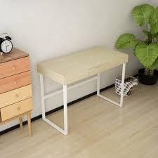 wood ikayaa modern metal frame computer desk table with drawer