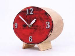 table clock wood red clock ellipse desk clock red black silver