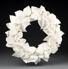 white felt poinsettia wreath