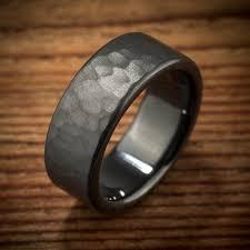 black zirconium wedding bands men s wedding band hammered comfort fit interior black zirconium