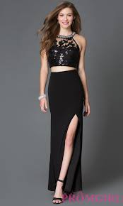 illusion bodice two piece long prom dress promgirl