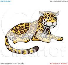 jaguar clipart cartoon of a cute jaguar resting royalty free vector clipart by