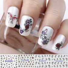 butterfly 3d nail art design glitter butterfly rose flowers