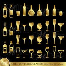 birthday martini clipart gold bottles u0026 glasses clip art clipart vector art file