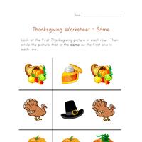 thanksgiving preschool concepts worksheet same all network