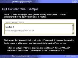 dijit layout contentpane 2008 ibm corporation emerging technologies web 2 0 accessibility